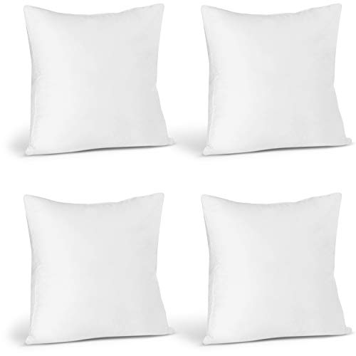 Utopia Bedding Cushion Inner Pads (Pack of 4) - Cushion Stuffer 18' x 18' (45 x 45 cm) - Cotton Blend Cover - Hollowfibre Square Pillow Inserts (Set of 4, White)