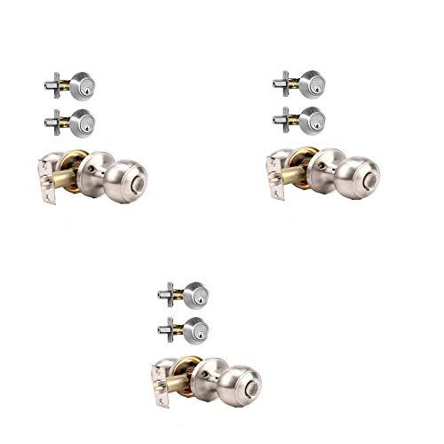 Vintex 3 Pack Entry Door Knobs and Double Cylinder Deadbolt Lock Combo Set, Keyed Alike Door Locksets for Front Door, Classic Satin Nickel Finish