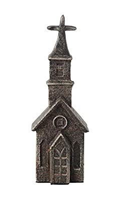 Creative Co-op Black Cast Iron Shaped Church Figurine