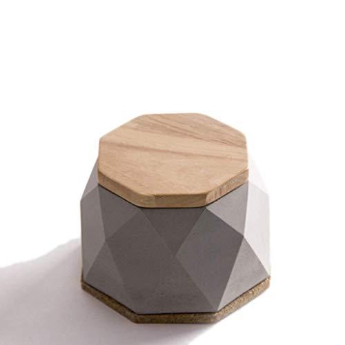NGXIWW draagbare asbak, huishouden, eettafel, asbak, beton houten deksel, handgemaakt, geschikt voor binnen- en buitendecoratie
