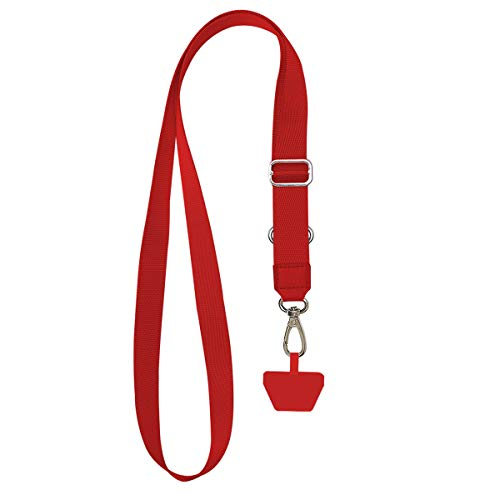 SS Phone Lanyard, Phone Neck Strap Holder Cell Phone Safe Tether Keyring Lanyard Universal Compatible with iPhone 11 Pro Max XS XR X 8 7 6S Plus Samsung Galaxy S10 S9 S8 Note 10-Red