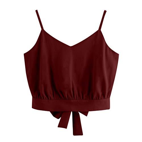 CAOQAO Frauen Casual Sommer Bogen Kragen V-Ausschnitt Einfarbig Cropped Cami Top Leibchen Top(Wein,S)