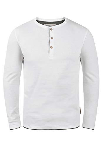 Indicode Gifford Herren Longsleeve Langarmshirt Shirt Mit Grandad-Ausschnitt, Größe:L, Farbe:Off-White (002)