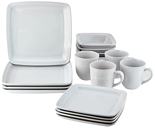 American Atelier 6523-16-RB Madelyn Square White 16 Piece Dinnerware Set,...