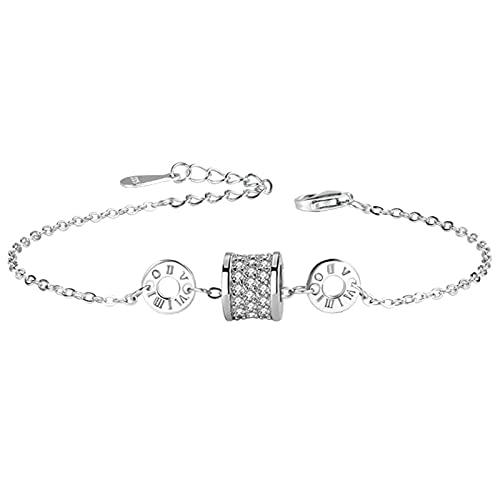 XFYJR Pulseras Charm Bead Link Chain for Women Girl 925 Sterling Silver Fiesta Regalo Joyería Pequeña Cintura Charm Pulsera Plata (Color : Silver)