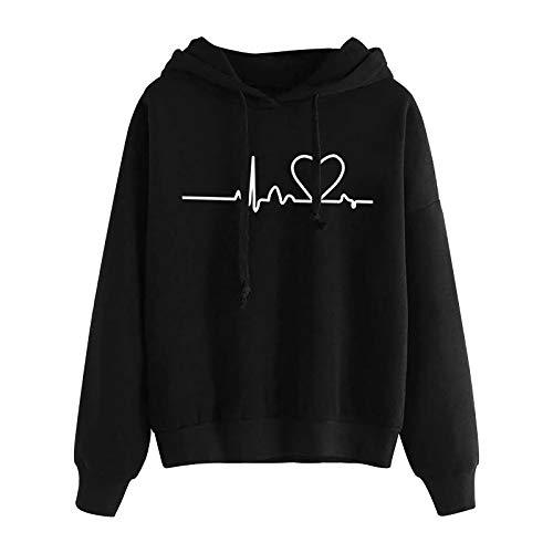 AQIUKER Damen Kapuzenpullover Herbst Winter Hoodie Frauen Sweatshirt Pullover Oberteile Langarmshirt Mode Langarm Komfortabel Casual Pulli mit Kordel und Taschen