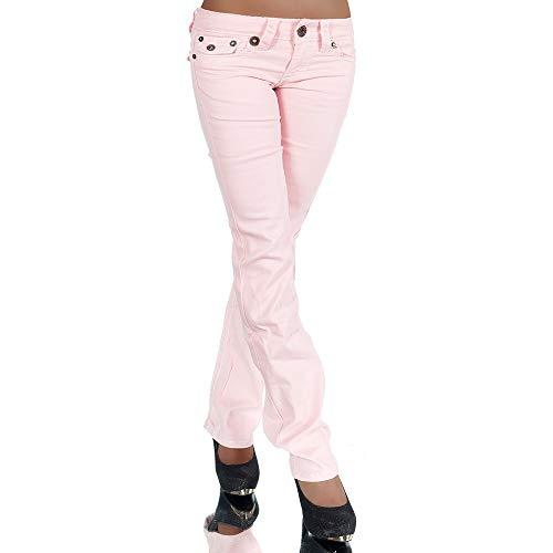Damen Bootcut Jeans Hose Damenjeans Hüftjeans Gerades Bein Dicke Naht Nähte H922,Rosa,40 (Etikette 42)