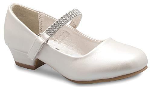 OLIVIA K Girls Kitten Heels Mary Jane Shoes - Round Toe with Rhinestone Strap- Easy on off Velcro Enclosure,Ivory Pu,1 M US Little Kid