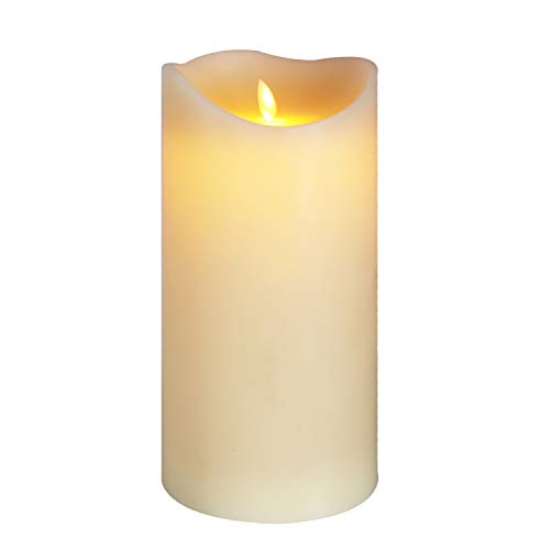 Eldnacele Large Flameless Candles Flickering with Timer(5'x 10'), Battery Operated Moving Wick Real Wax LED Pillar Candle for Wedding Party Church Home Indoor Decor