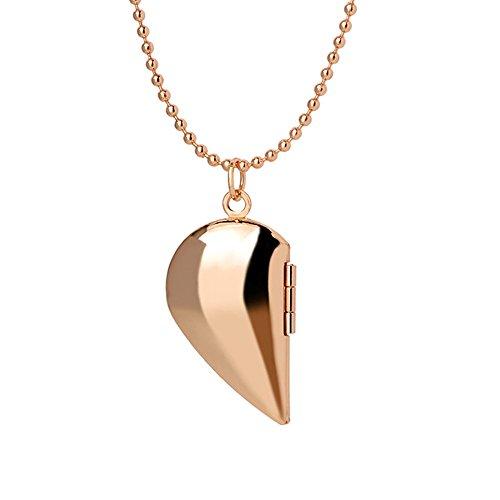 Dunbasi Schmuck für Paar Foto Medaillon zum öffnen Hälfte Herz Anhänger mit Kette Halskette für Damen und Herren (Gold)