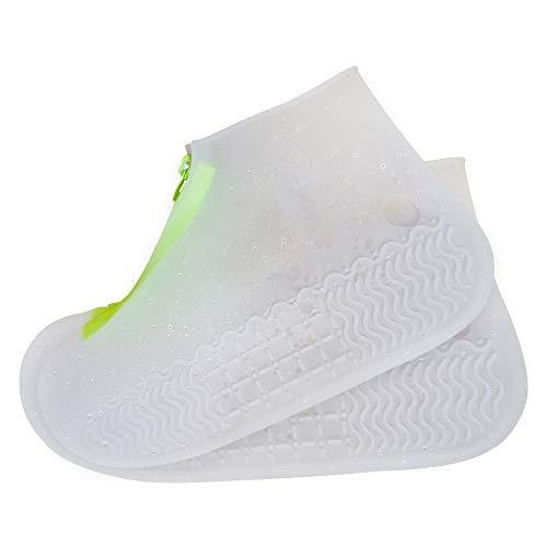 Nasjac Wiederverwendbare wasserdichte Silikon-Überschuhe, rutschfeste Silikonkautschuk-Schuhschutzvorrichtungen mit Reißverschluss, faltbare rutschfeste Überschuhe (XL,...