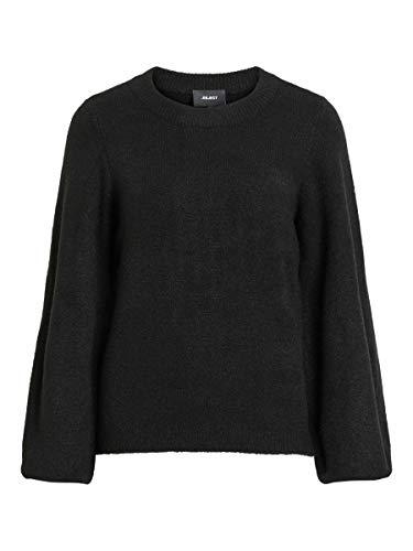 Object Damski sweter z dzianiny z rękawami balonowymi, czarny, L