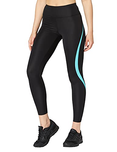Marca Amazon - AURIQUE Mallas de Deporte Tiro Alto Mujer, Negro (Black/Turquoise), 40, Label:M