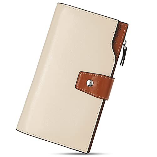 BOSTANTEN Womens Leather Wallets RFID Blocking Large Capacity Credit Cards Holder Phone Clutch Apricot
