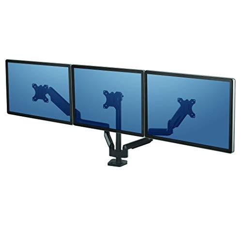 Fellowes - Platinum Series - Soporte de Monitor Triple en Horizontal con Brazo Flexible Ajustable para Colocar la Pantalla a la Altura Adecuada.