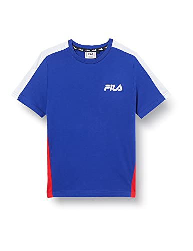 Fila Teens Boys Max Tee T-Shirt, Clematis Blue-True Red Bright White, 158 cm-164 cm Bambino