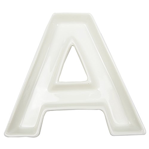 Plato con forma de letra para decorar, de cerámica, color blanco