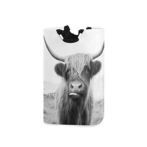 N\A Panier à Linge drôle de Vache Highland écossais Pliable en Tissu Oxford Panier à Linge Pliable vêtements Sac à Linge avec poignées