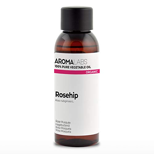 BIO - Aceite vegetale de Rosa Mosqueta - 50ml - garantizado 100% puro, natural y prensado en frío - Orgánico certificado por Ecocert - Aroma Labs