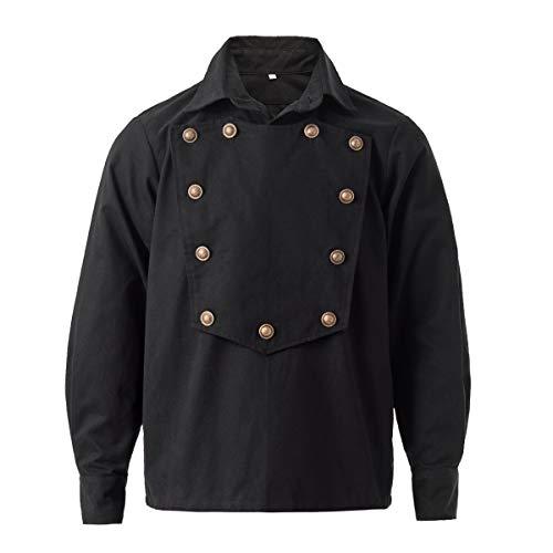 GRACEART Steampunk Gothique Homme Chemise Manches Longues Western Cowboy Shirts (XL, Noir)