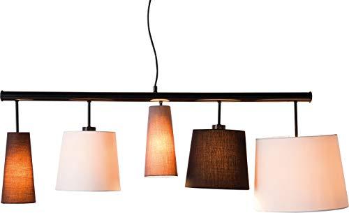 Preisvergleich Produktbild Kare Design Hängeleuchte Parecchi Black 140,  moderne Stofflampenschirme (Schwarz,  Weiß,  Grau,  Braun) Pendelleuchte für Esstisch,  Design Wohnzimmerlampe (H / B / T) 160x152x50cm