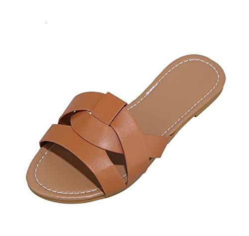 HSY SHOP Damen Sandalen für Sommersandalen Open Toe Flat Walking Sandalen Schnüren Anti Slip Strappy Comfort Strandschuhe Outdoor Breathable Casual (Color : Brown, Size : EU:41/UK:6.5/US: 10)