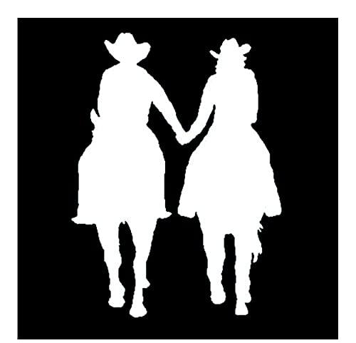 MDGCYDR Pegatinas Coche Perro 11 Cm * 15 Cm Hombre Y Mujer Montando Un Caballo Divertido Vinilo Coche Pegatina Motocicleta Calcomanía Negro/Plata