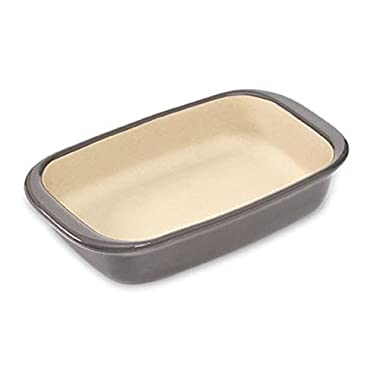 PAMPERED CHEF #1421 2016 UPDATED GREYSTONE GLAZED 6X9 4 CUPS SMALL RECTANGULAR BAKER