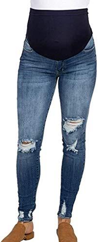 BOLAWOO Umstandshose Jeans Löchern Umstandsjeans Umstandsmode Damen Hosen Jeans Jeanshosen Mode Basic Jogginghose Maternity Hose Skinny Hosen Mutterschafts Leggings Schwangerschaftshose