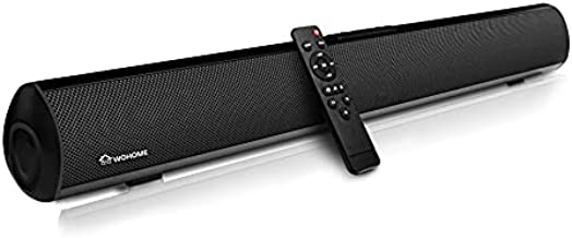 Soundbar Wohome TV Sound Bar 50W 30-Inch with 3 EQs, 3D Surround Sound, Bluetooth 5.0, Remote Control, 4 Drivers, Deep Bass, Optical Aux Coaxial USB Inputs, Wall Mountable, Model S06