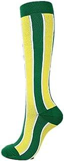 MYSdd, Calcetines Mujer Hombre Mejores Deportes para Correr Deportes al Aire Libre Viajes voladores Correr Calcetines Deportivos - Verde Amarillo a Rayas, SM