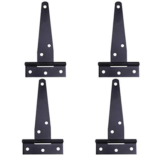DOITOOL - Cerniere nere a T, per recinzioni in legno o cancelli in metallo, in ferro, antiruggine, per porte di capannoni, capannoni e porte (8 pollici)