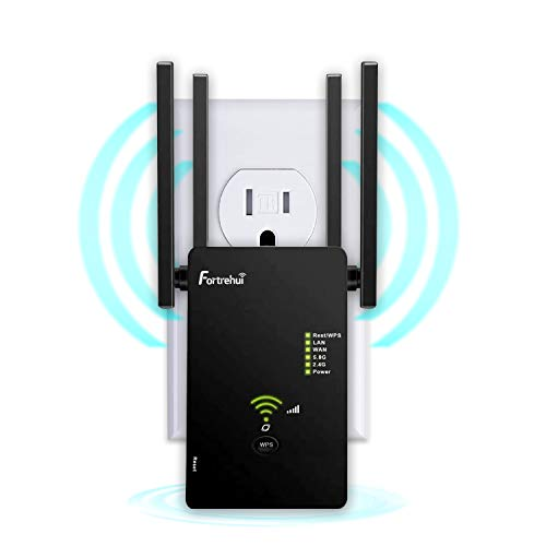 WiFi Extender 1200Mbps, WiFi Booster Dual Band 2.4 & 5GHz, WiFi Range Extenders Signal Booster for Home, 3 Working Modes Network WiFi Repeater and Signal Amplifier with Ethernet Port Black
