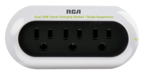 RCA PCHSTAT2R Portable Charging Station for Cell Phone, MP3, and other Electronics (White)