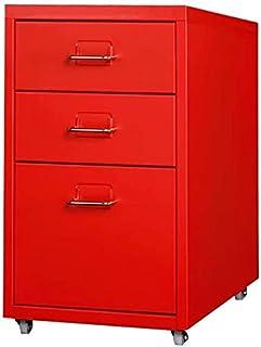 RUCC 3 tiroirs Classeur mobile amovible métallique Remplissage Table de chevet Bureau des documents du Cabinet Armoire de ...