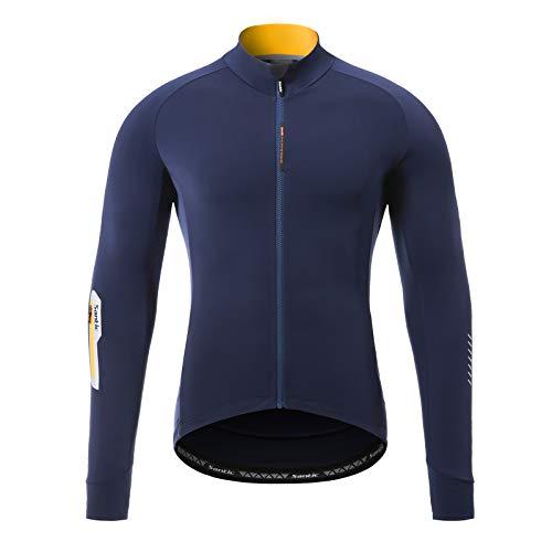 Santic - Chamarra de invierno para ciclismo, forro polar, térmica, mangas largas, resistente al viento