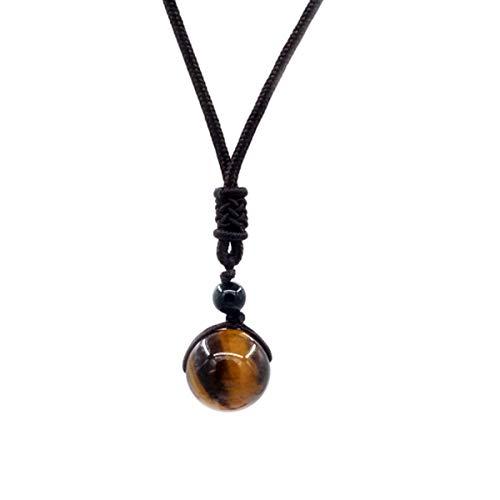 Mayting Tiger Eye Pendant Necklace Round Healing Gemstone Colgante Regalo para Hombres y Mujeres Collar