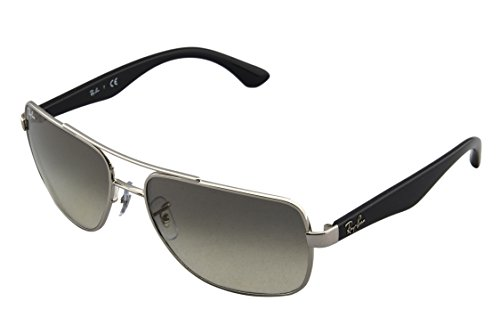 Ray-Ban Men's RB3483 Metal Square Sunglasses, Silver/Grey Gradient, 60 mm