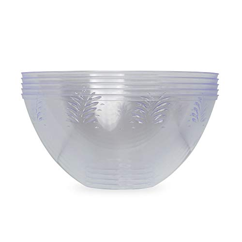 Pack of 5 Hard Plastic Serving Bowls 3000ml | Large Party Bowls | Durable Reusable Salad Bowls | Kitchen Bowls ~ Clear ~ 100oz ~ Great for Parties, Catered Events, Weddings and Home