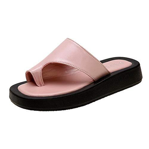 xinghui Flip Flops für Frauen Sandle-Schlittschuhe trägt einen Charakter Flops Flache Bodenschuhe Strandschuhe-Rosa_40.