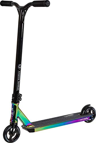 Longway Stunt-Scooter H=79cm Schwarz/Rainbow Regenbogen Oilslick Neochrome + Fantic26 Sticker