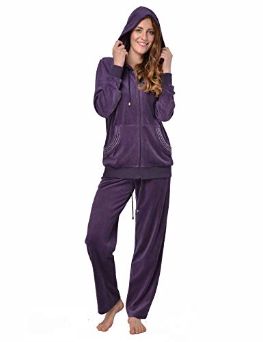 RAIKOU Damen Micro Velours Freizeitanzug Hausanzug mit Reißverschluss Nicki-Anzug Zweiteiliger Schlafanzug mit Strasssteinen (44/46, Dunkel Lila)