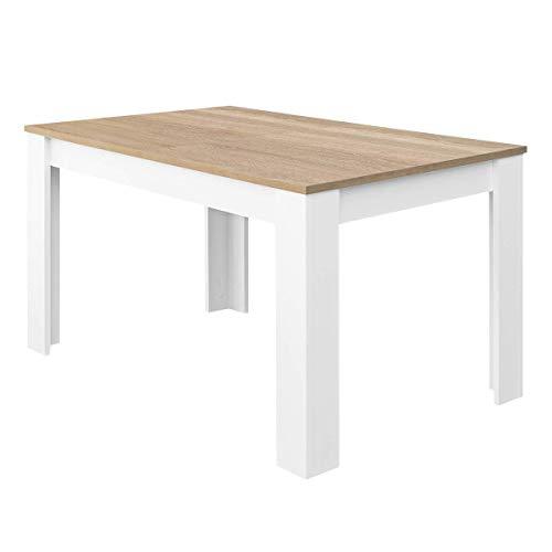 Habitdesign Mesa de Comedor Extensible, Mesa salón o Cocina, Acabado en Color Blanco Artik y Roble Canadian, Modelo Kendra, Medidas:...
