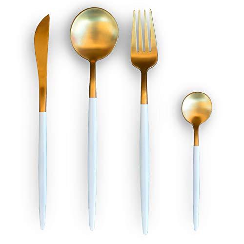 Cuberteria Deluxe Juego de 24 piezas fabricado en Acero Inoxidable 18/10 en color oro y blanco. Incluye: 6 Cuchillo de mesa, 6 Cuchara de mesa, 6 Tenedor de mesa y 6 Cuchara de café postre.