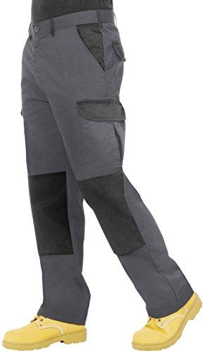 ProLuxe Endurance Herren-Cargo-Arbeitshose mit Kniepolstertaschen und verstärkten Nähte (Grau/Schwarz, 32S)