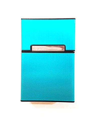 Keklle Brushed Aluminum Cigarette Case, Hard Box and Holder with Solid Magnetic Flip Top Closure (King Size) (Blue)