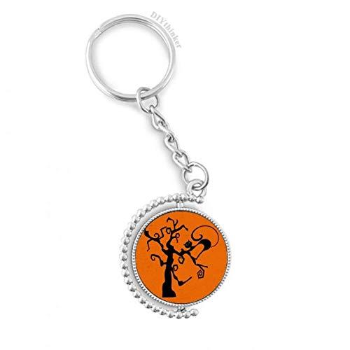 DIYthinker Kratzbaum Halloween Hallowmas orange Drehbare Schlüsselanhänger Ringe 1.2 Zoll x 3.5 Zoll Mehrfarbig