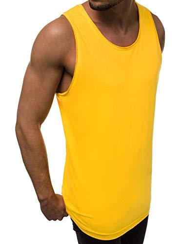 MOODOZ Herren Tank Top Tanktop Tankshirt Ärmellos Bodybuilding Shirt Unterhemd T-Shirt Tshirt Tee Muskelshirt Achselshirt Trägershirt Ärmellose Training Sport Fitness 777/0224BO GELB M