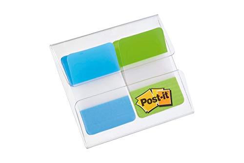 Post-it Index - Dispensador rígido funda 2 x 8, colores azul y verde