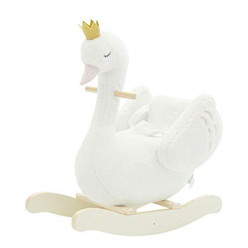 Caballo de oscilación Bebé caballo mecedora, Caballo mecedor de peluche, felpa blanca caballo de oscilación, cisne caballito de madera, caballo de oscilación1 a 3 años, caballito de madera animal, bla